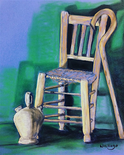 Chair and cane at a Xàbia art school, still life by Wildago in Spain 2017.