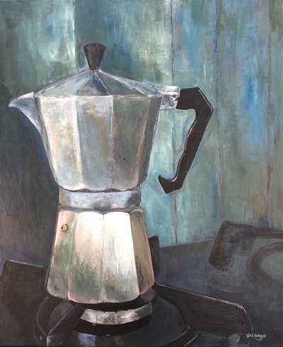 Moka Pot, still life by Wildago, acrylic on canvas 50x60cm (for sale)