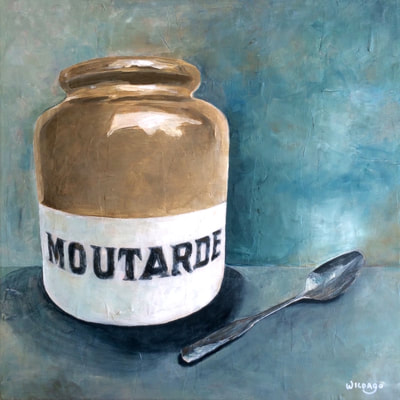 Moutarde, still life by Wildago, acrylic on canvas 40x40cm (nfs)